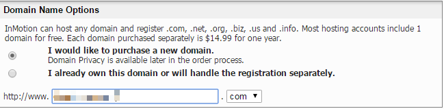 Choosing domain name InMotion Hosting