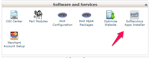 cPanel Software and Services section