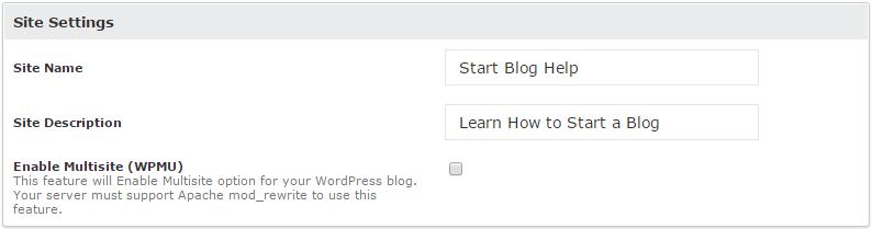 Softaculous WordPress site setting