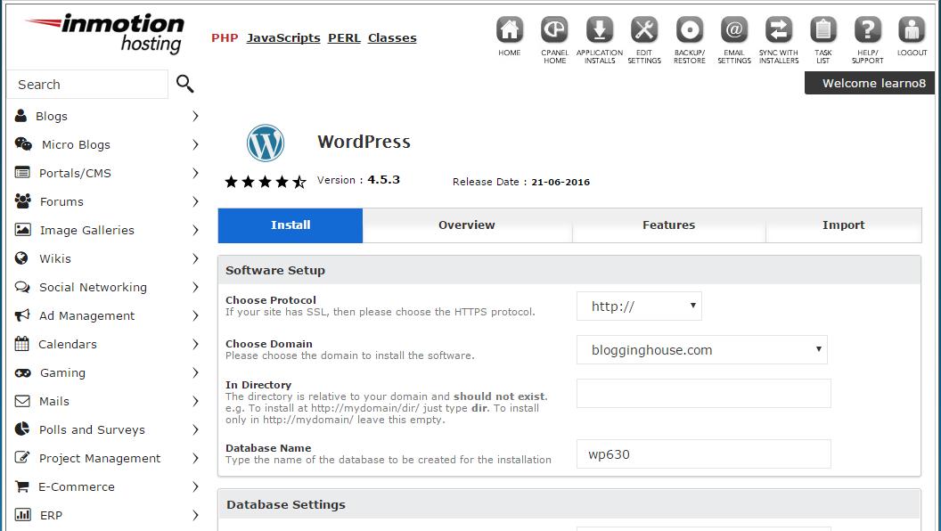 Installing WordPress in Softaculous