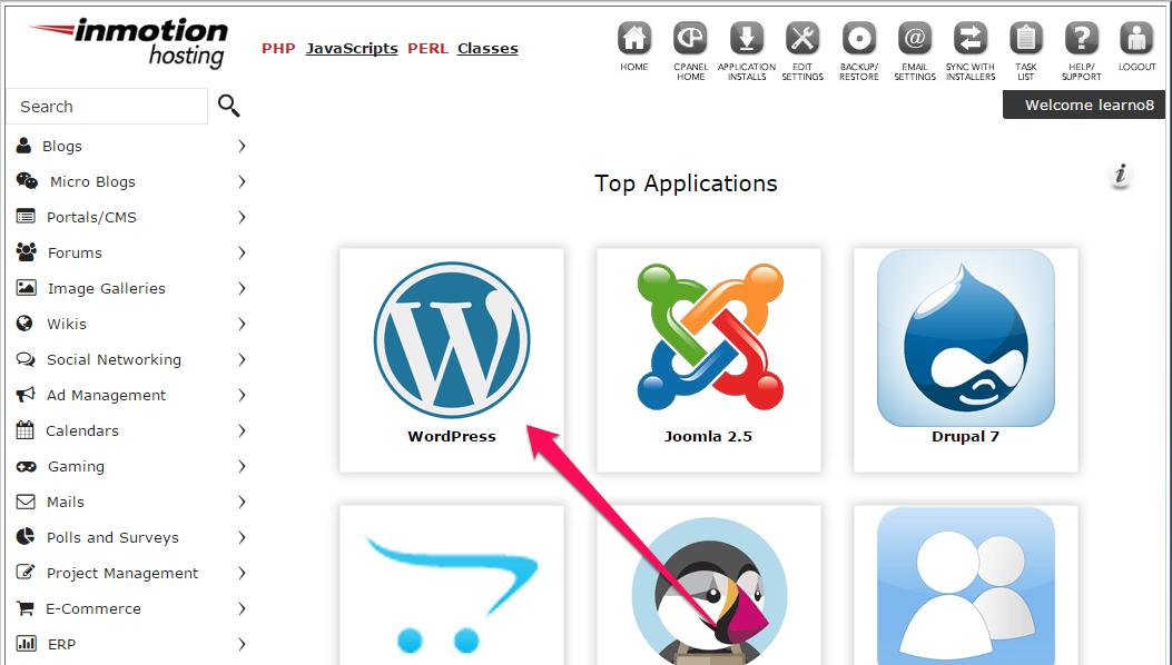 Softaculous application installer