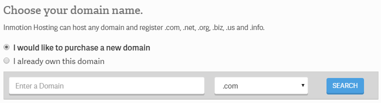 InMotion Hosting - Domain name selection during Installation