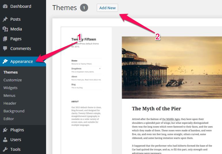 Adding Theme in WordPress