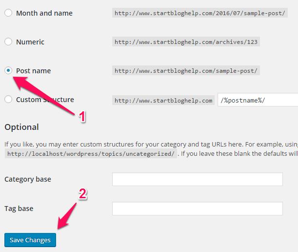 Post Name option in WordPress Permalinks