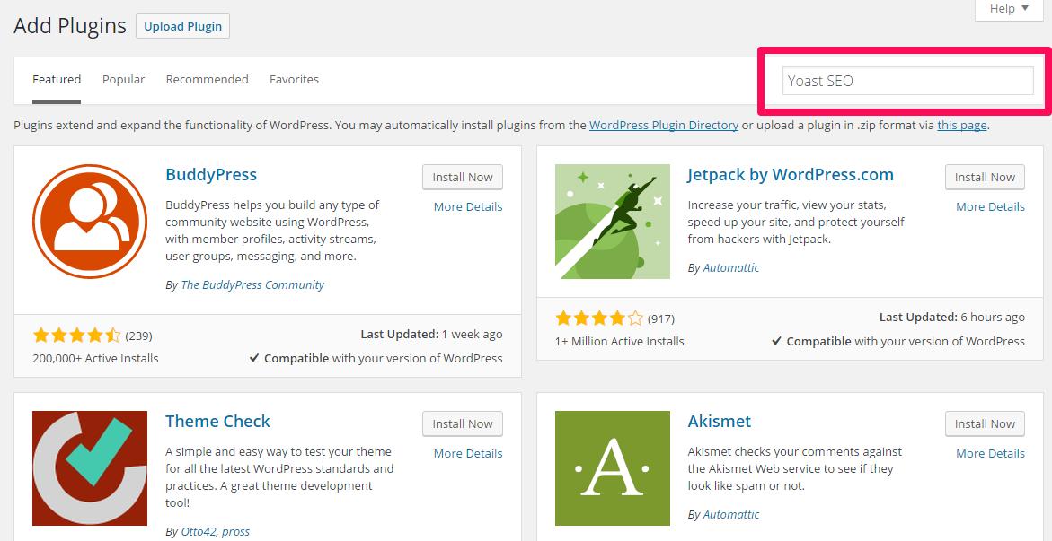 Searching plugins WordPress