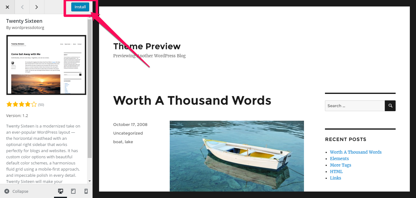 Installing theme after preview in WordPress