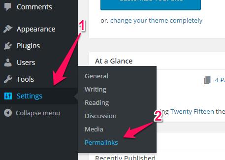 Permalinks tab in WordPress sidebar